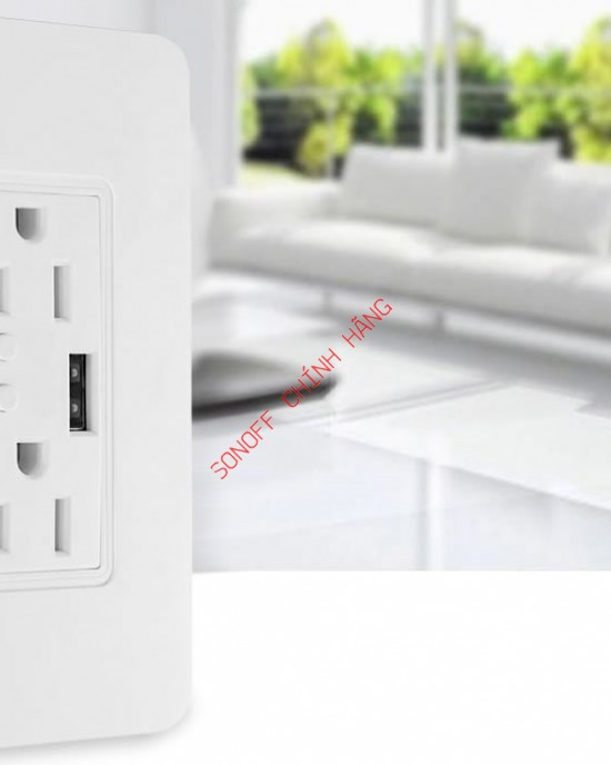 ESW2USB - Công tắc WiFi thông minh 2 cổng, 2 USB chuẩn US