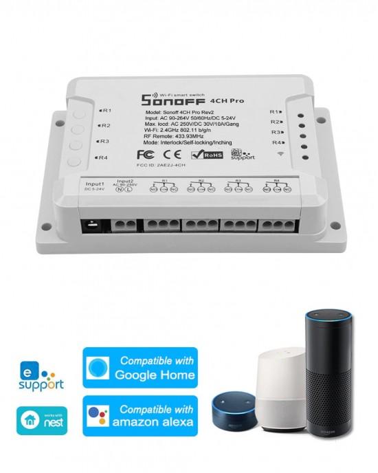 CB4CHPROR2RF - Combo công tắc Sonoff 4 CH Pro 2 kèm remote 433