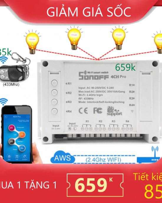CB4CHPRORRF - Combo công tắc Sonoff 4 CH Pro kèm remote 433