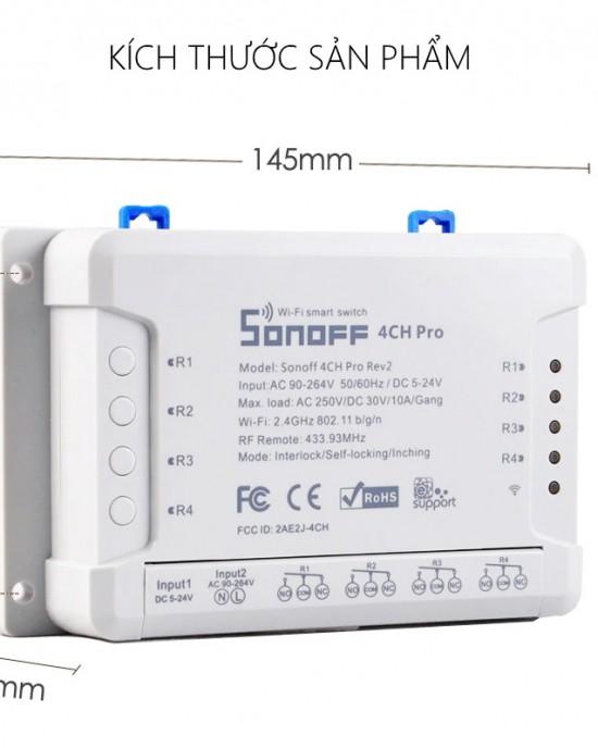 CB3RF4CHPROR2 - Combo 3 công tắc Sonoff 4CH Pro R2 - 3 remote + Free ship
