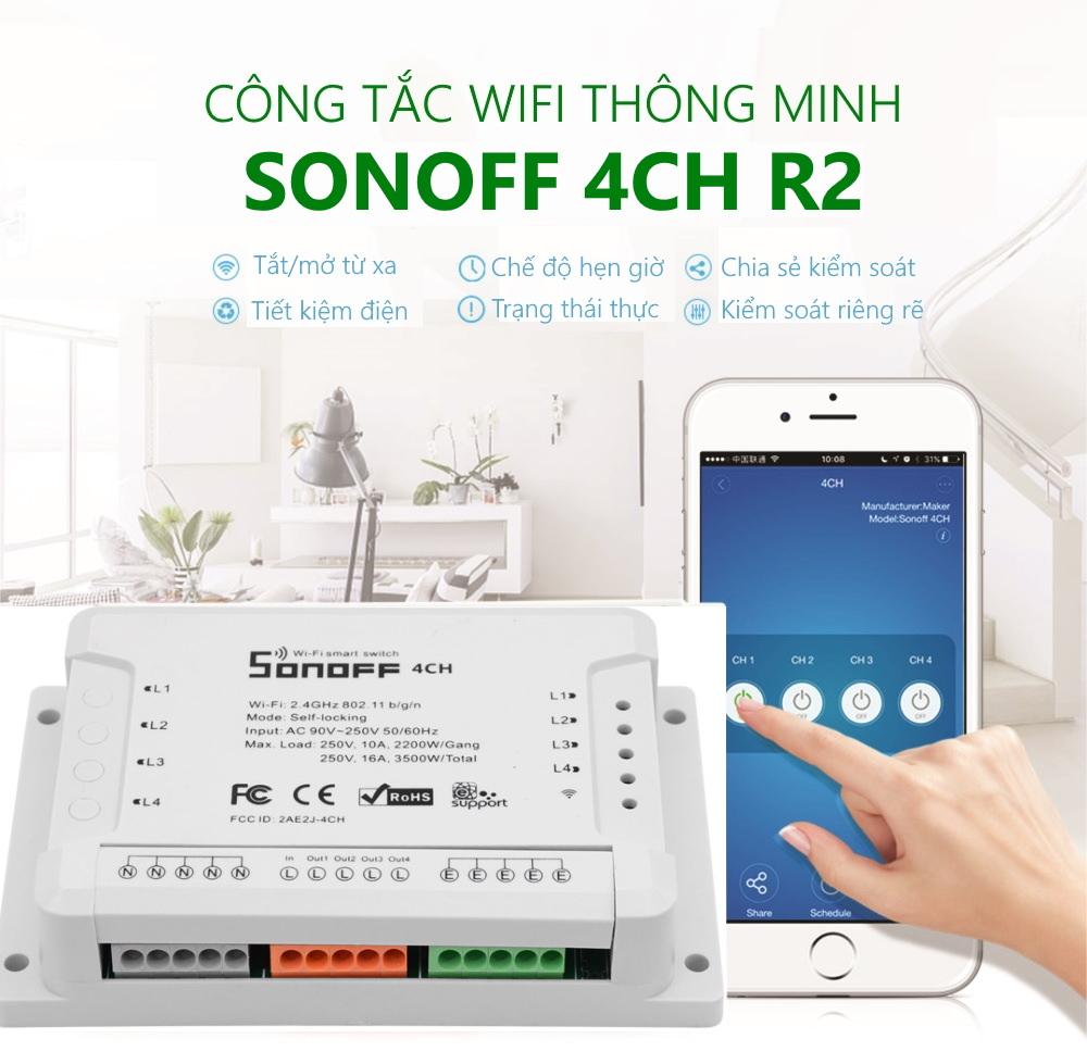 Công tắc WiFi thông minh 4 cổng, tắt mở độc lập Sonoff 4CH/R2