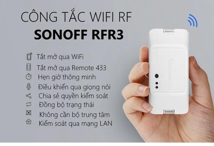 Công tắc WiFi + RF thông minh 1 cổng mới Sonoff RF R3