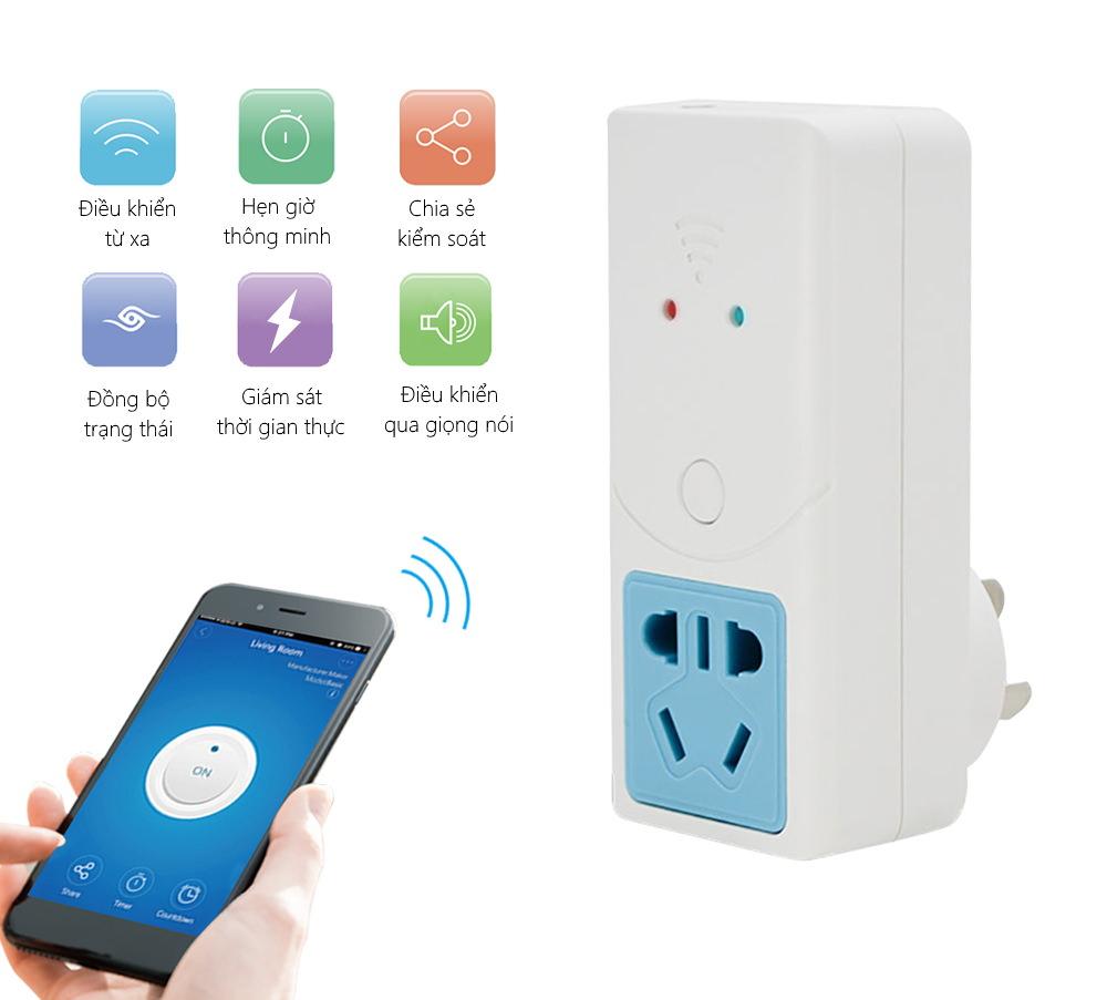 Phích cắm WiFi thông minh đo ẩm, nhiệt độ Sonoff S22